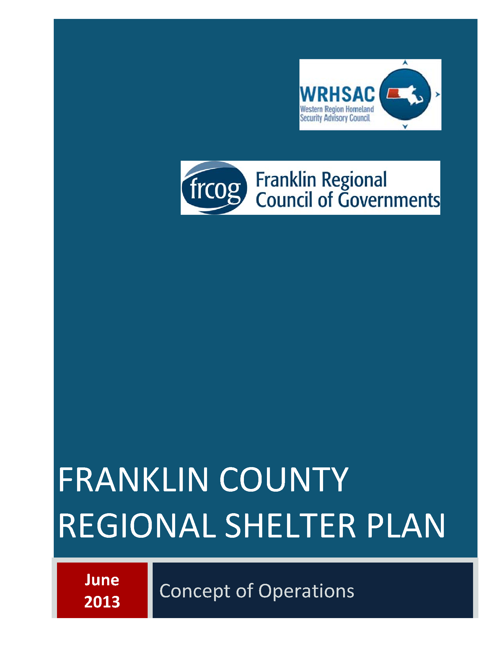 Cover page of the Franklin County Regional Sheltering Plan